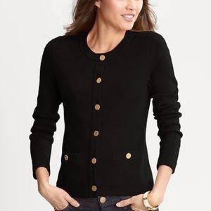 Banana Republic Sweater Gold Button Black Cardigan